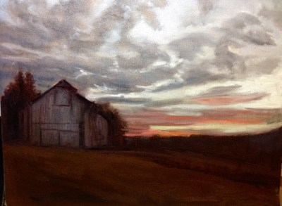 Winter Barn at Dawn